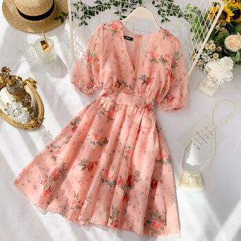 Women Dress 2019 Sweet Floral Print V-collar short Sleeve Slim Chiffon Short Mini Dresses A-line Vestidos G790 bohemian round collar short sleeve asymmetrical chiffon dress for women