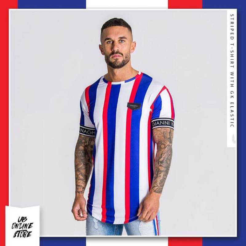 2020 verão nova masculina casual t-shirts moda listrado de manga curta streetwear marca maré masculina hip-hop manga curta camiseta