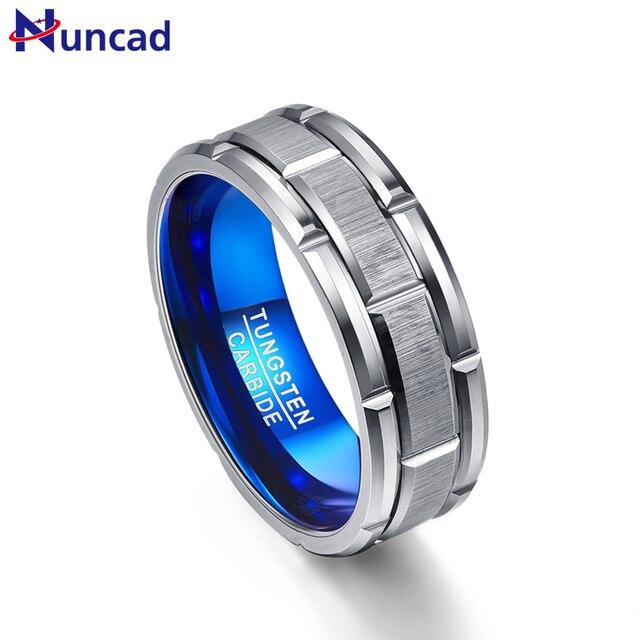 Кольцо для помолвки Nuncad T062R, синее кольцо с отверстием для помолвки, ширина 8 мм, Вольфрамовая сталь, Размер 7 12
