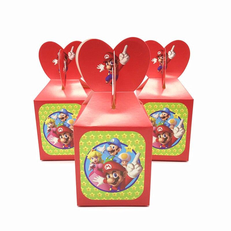 18/30/42/54 pçs/lote Super Mario Tema Dos Desenhos Animados Caixas De Papel Doces Caixas de Presente de Doces Lembranças Do Chuveiro de Bebê Decorações Da Festa de Aniversário
