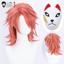 Hsiu sabito peruca cosplay anime demônio slayer: kimetsu não yaiba raposa máscara prop halloween trajes cabelo sintético rosa perucas curtas.