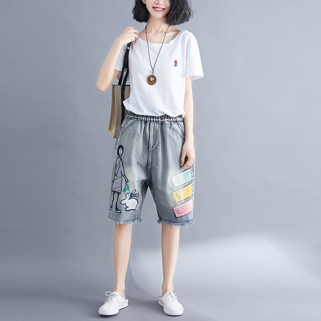5176 Women Summer Streetwear Elastic High Waist Cartoon Embroidery Cute Korean Style Lady Female Oversized Loose Denim Shorts 3