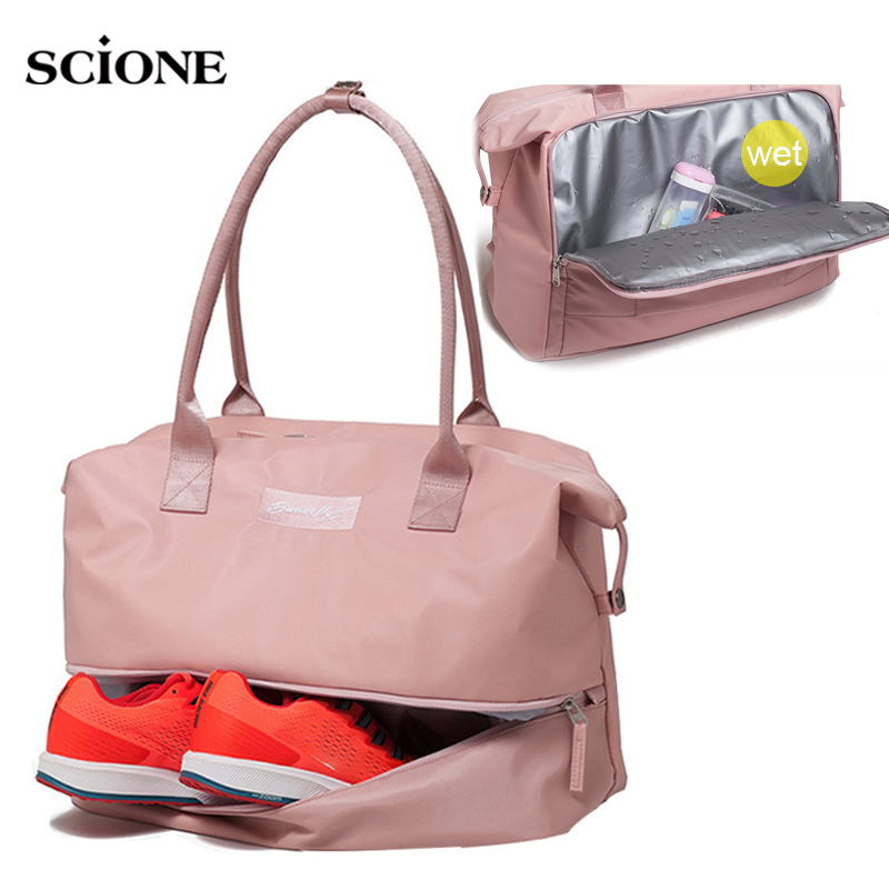 Women Fitness Gym Bags Dry Wet Yoga Mat Bag Travel Training Sports Shoulder Handbag For Shoes Tas Sac De Sport Gymtas XA858WA