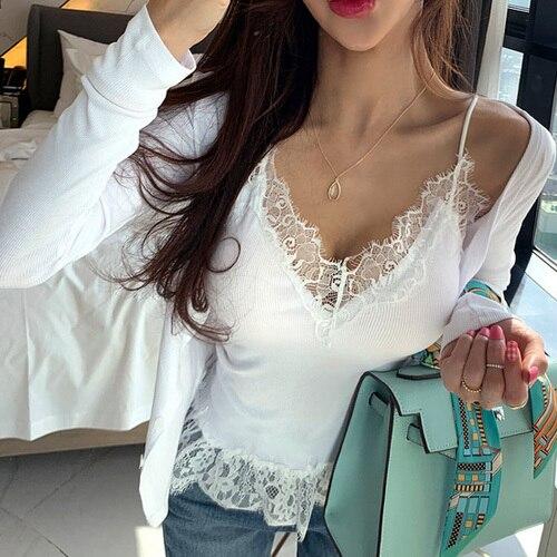 New Korea fashion Bodycon Sling Cardigan Suit Two piece Set Women Body Harajuku Crop top thin cardigan sexy lace Summer shirt t 3