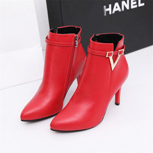 New Ankle female pointed shallow mouth stiletto snow boots fashion trend side zi