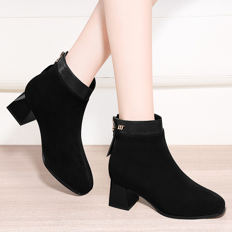 Yang Mi Celebrity Style Shoe Women's 2019 Autumn And Winter New Style Thick Bottomed Chunky-Heel Short Boots Martin Boots Genuin