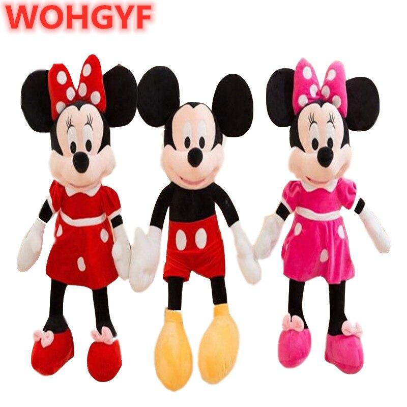 100cm haute qualité dessin animé en peluche Mickey Minnie Mouse peluche Animal doux poupée jouets enfants filles cadeaux anniversaire cadeau de noël