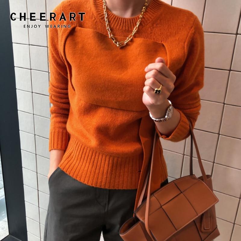 CHEERART Orange Sweater Women Pullovers Winter Jumpers Knitwear Patchwork Korean Sweater Autumn Clothes 2019