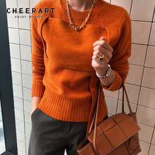 CHEERART Orange Sweater Women Pullovers Winter Jumpers Knitwear Patchwork Korean Sweater Autumn Clothes 2019(China)