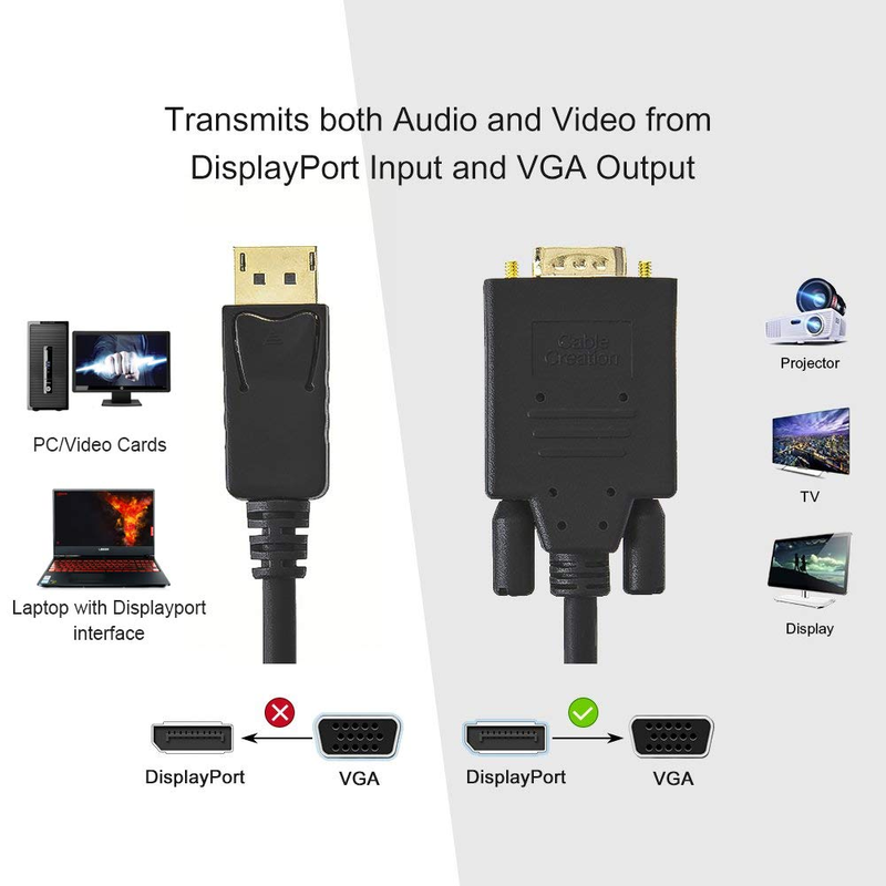 CableCreation DP to VGA Cable Gold Plated Displayport to VGA Cable 1.8m Standard DP Male to VGA Male Cable Black,6ft