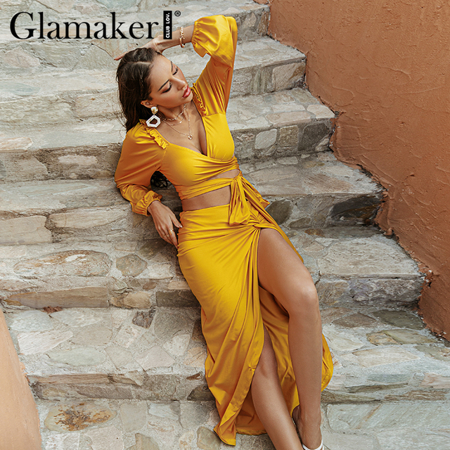 Glamaker Two piece suits Ruffles bandge top and high split sexy skirts Women spring summer yellow sets dress fashion 2021 new 3