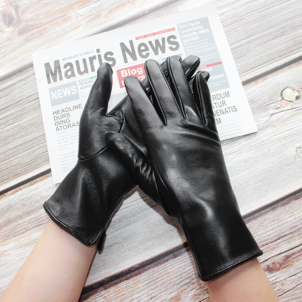 Bickmods New Women Black Fashion Touchable No Inside Straight Style Genuine Leather Sheepskin Thin Section Gloves