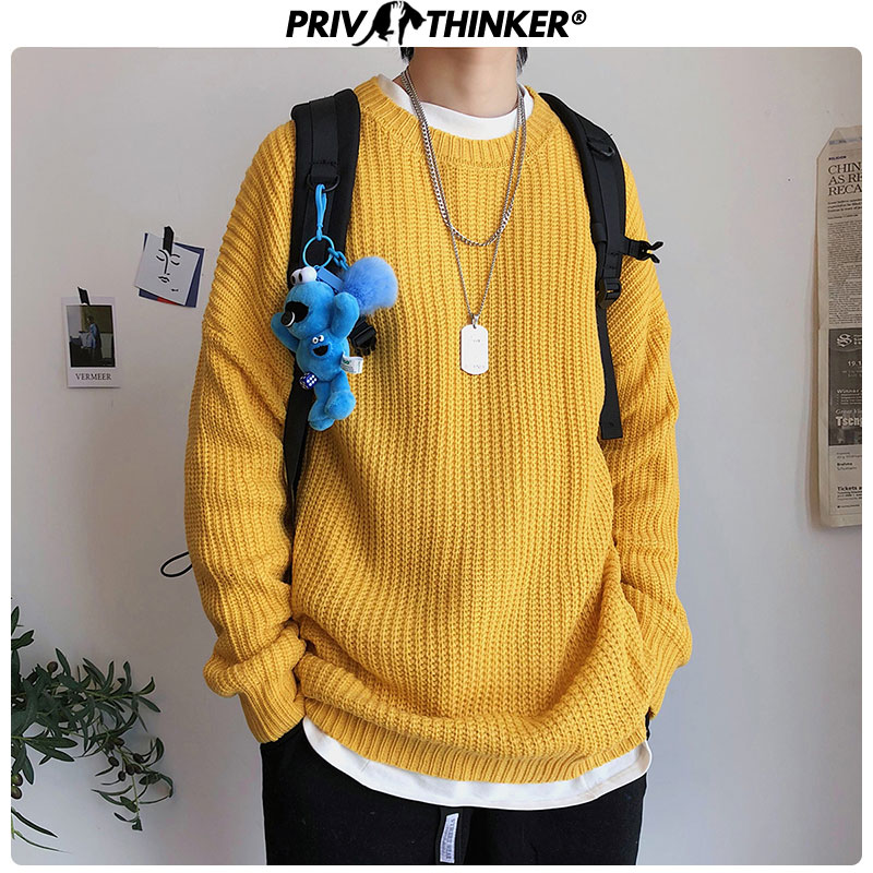 Privathinker 2019 Autumn Winter Sweater Men Pullover 9 Colors Casual Male Knitted Korean Solid Tops Streetwear Mens Sweater