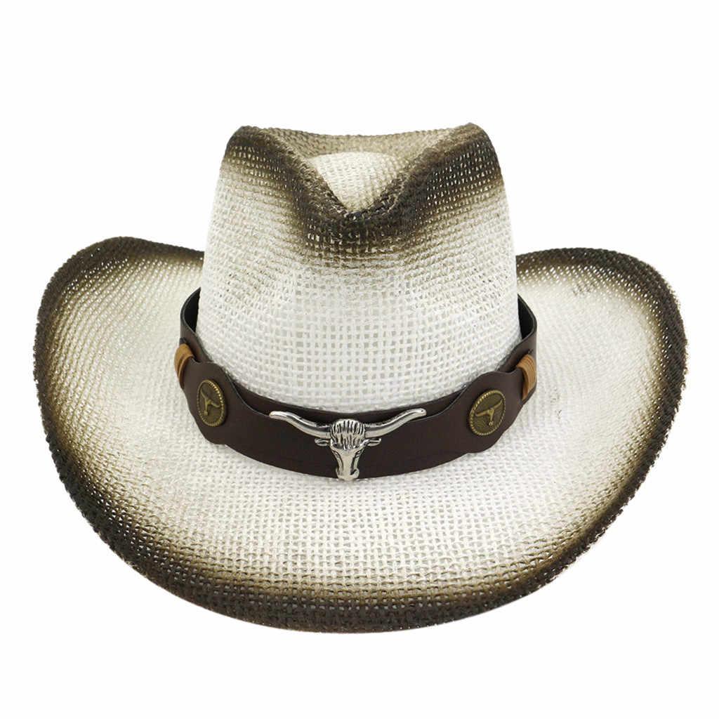 Sombrero de paja hombres mujeres Retro salvaje occidental vaquero sombreros de montar cinturón de cuero de ala ancha Casual moda occidental Gorra