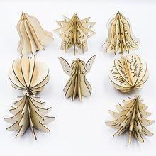 Get more info on the Wood Slices Splicing Xmas Tree Home Indoor Decorations 5Pcs DIY 3D Christmas Pendants With Hang String 5pcs/setCM