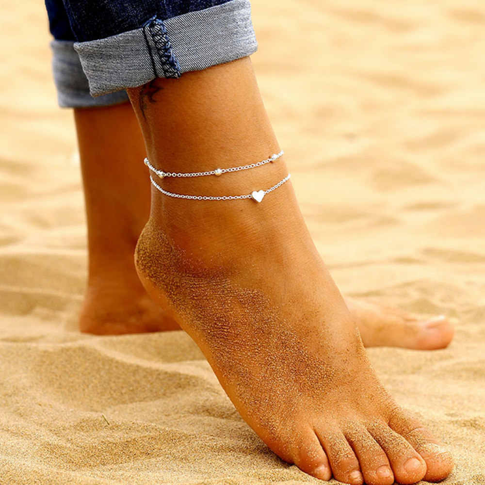 Simple ข้อเท้าหัวใจ Layering จี้ลูกปัดเครื่องประดับฤดูร้อนชายหาด Anklets เท้าข้อเท้าสร้อยข้อมือผู้หญิงขา