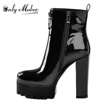 Onlymaker Patent Leather Ankle Boots Platform  Thick High Heel Zipper For Women  Plus Size us5~us15 For Ladies Black Booties