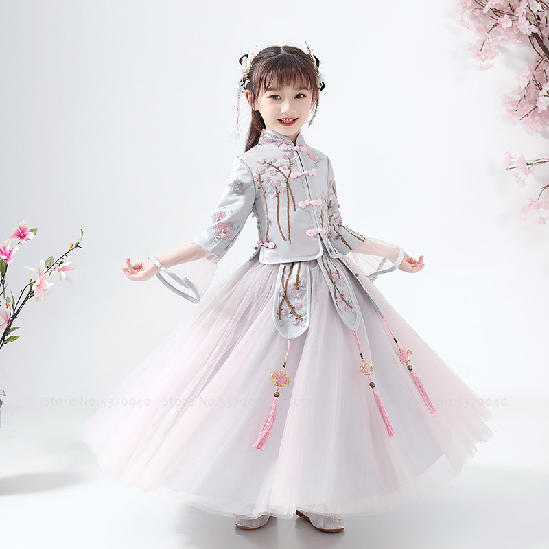 Kids Girls Hanfu Wedding Princess Party Dress Traditional Chinese Cheongsam Children Qipao Tops Skirt Tang Suit Cosplay Costumes