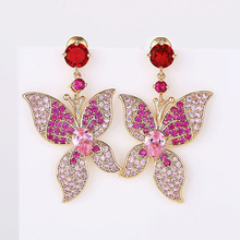 VERY GIRL Luxury Romantic Butterfly Earrings Micro Pave Multi color Cubic Zircon Dangle for Women 2019