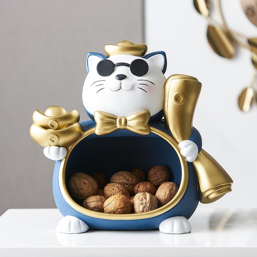 Lucky Cat Storage Box Statue Sculpture Table Decoration Miniature Figurine Sundries Modern Living Room Desk Home Study Decor