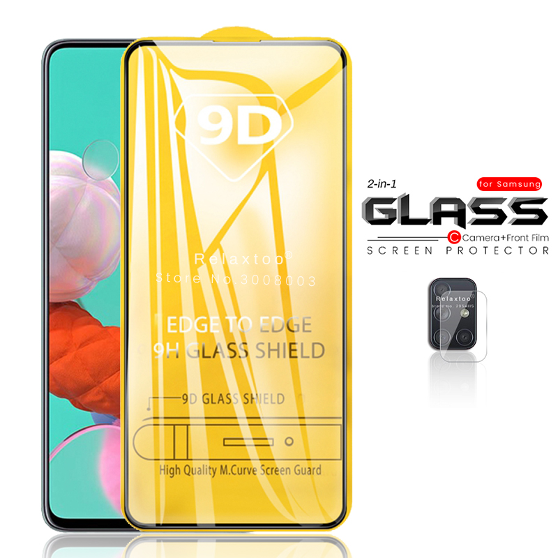2-in-1 9d Full Glue Tempered Glass For Samsung Galaxy A51 2020 Screen Protector On The Sumsung A71 A 51 71 A515 Camera Lens Film