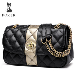 FOXER женская сумка-мессенджер на цепочке с ромбовидной решеткой, Женская Высококачественная кожаная сумка на плечо, подарок ко Дню Святого В...