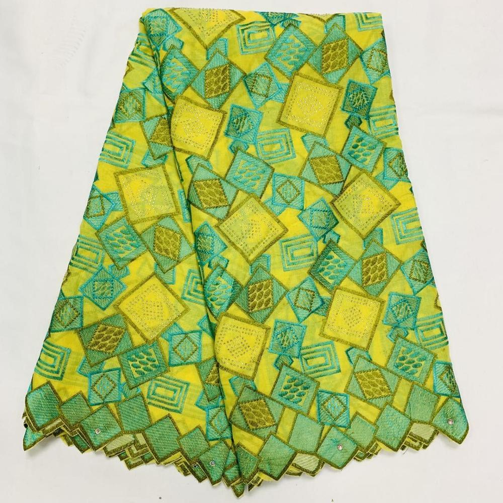 Yellow Green African Nigerian 2020 Latest Dry Lace Fabrics High Quality Cotton Lace Fabric For Men Party Sewing Materials