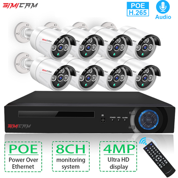 Security Camera System Kit 4MP 2K POE NVR H.265 8CH Audio Record IP Camera IR Outdoor Waterproof CCTV Video Surveillance NVR Set