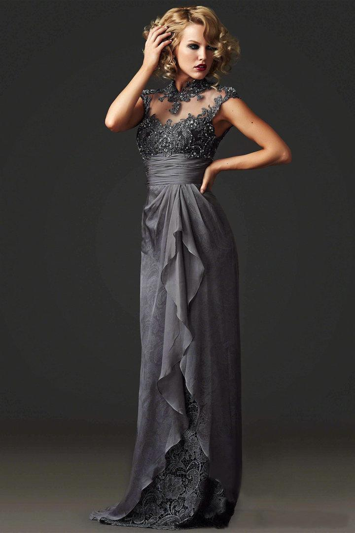 Sexy Backless Robe De Soiree Vestido De Festa Longo 2020 High Neck Lace Long Formal Gown Evening Mother Of The Bride Dresses