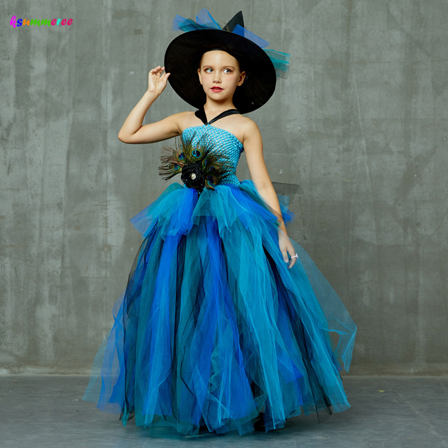 Girls Deluxe Peacock Feather Tutu Dress with Witch Hat Children Fancy Purim Pageant Birthday Party Costume Kids Prom Ball Gown 2