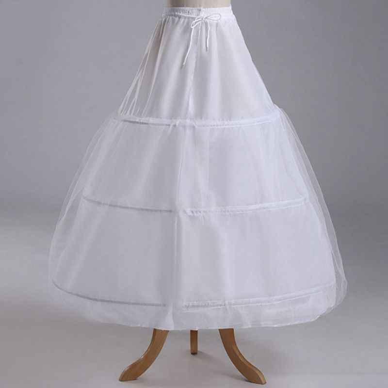 ชุดเจ้าสาวกระโปรงเรียงราย 3-Rings 1-ชั้นกระโปรงกระโปรงยืดหยุ่นสายรัดปรับยาว SLIP petticoat