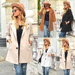 Primavera outono cashmere trench coat feminino longo casual xadrez casaco espessura lã quente casaco botão jaquetas com bolsos outwear