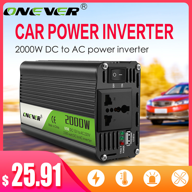 Onever Inverter 12v 220v 2000W Power Inverter DC To AC 12V To 220V Car Voltage Converter with USB Car Charger for iPhone 6 7 8