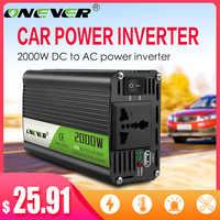 Onever Inverter 12v 220v 2000W Power Inverter DC To AC 12V To 220V Car Voltage Converter with USB Car Charger for iPhone 6 7 8