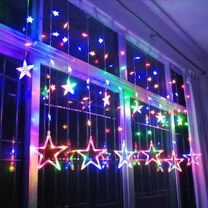 Image 4 - AC110V or 220V Holiday Lighting LED Fairy lights Star Curtain String luminarias Garland Decoration Christmas Wedding Light 3M