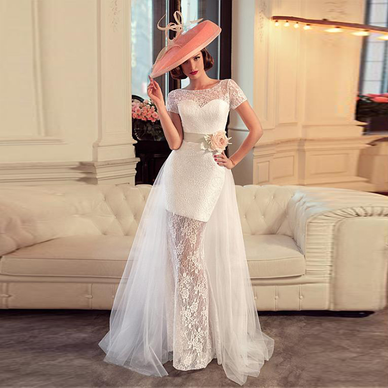 Classic White Lace Wedding Dresses With Short Sleeves Flowers Sash