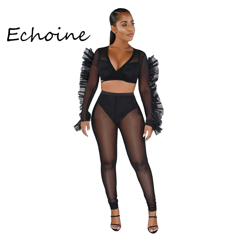 Sexy Sheer Mesh Ruffle Two Pieces Set Crop Top + Long Pants Tracksuit Women Club Outfits Stretch Fashion Autumn Winter