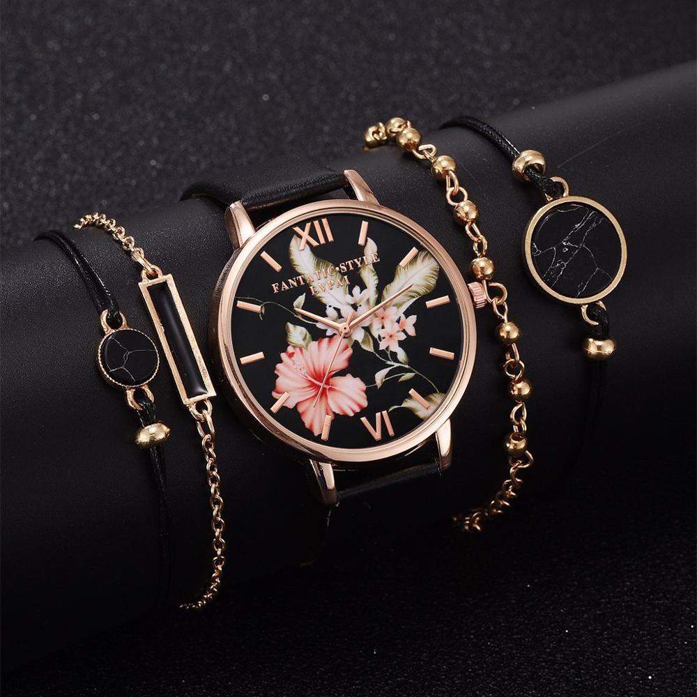 Lvpai 5pcs Set Women Watches Bracelet Black Ladies Bracelet Watch Casual Leather Quartz Wristwatch Clock Relogio Feminino