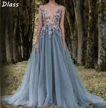 цена на 2020 Prom Dresses 3D-Floral Appliques Short Sleeve Lace Dress Evening Wear Sheer Neck Flower Vintage Long Formal Party Gowns