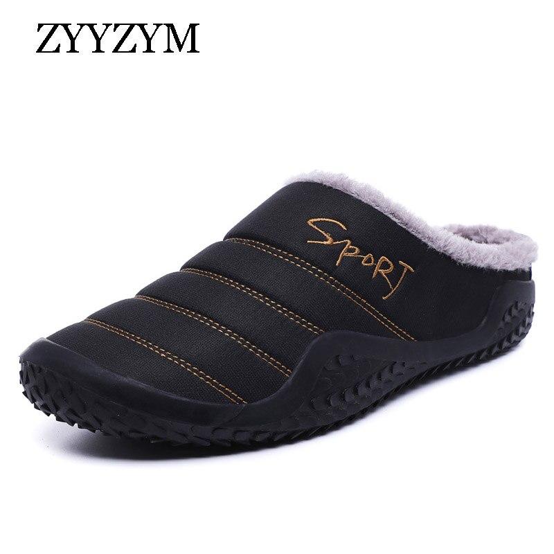 ZYYZYM Men Slippers 2019 Winter Plush Keep Warm New Fashion Light Home Indoor Furnishing Cotton Slipper Men Large Size EUR 39-48