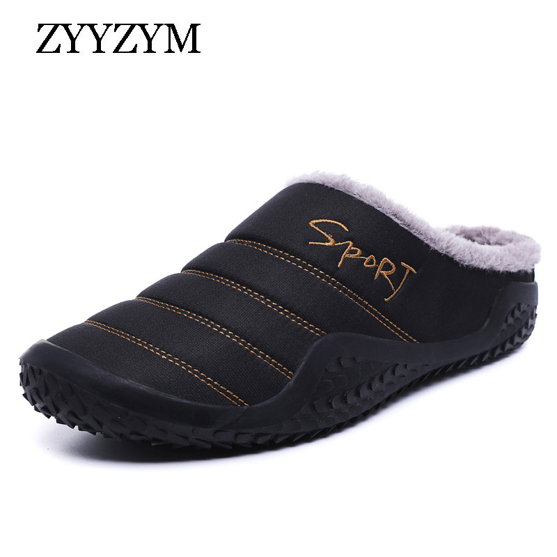 ZYYZYM Men Slippers Autumn Winter Plush Keep Warm Fashion Light Home Indoor Furnishing Cotton Slipper Men Large Size EUR 39-48