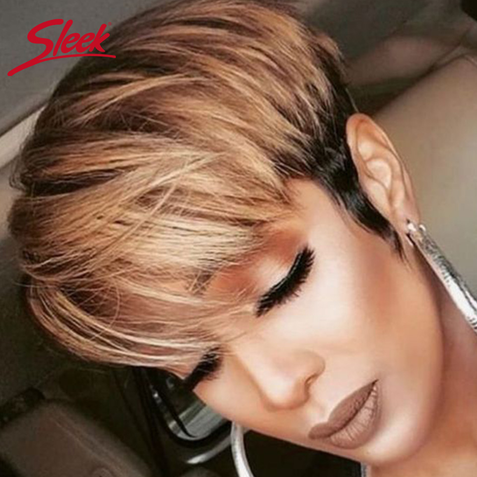Sleek Short Human Hair Wigs Pixie Cut Wigs 100% Remy Brazilian Hair Wigs 8 Inch Short Wigs Natural Wave Short  Wigs Concise Wigs