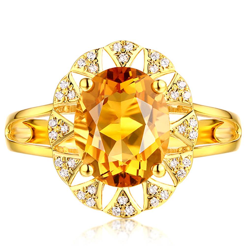 Big Citrine Gemstones Zircon Diamonds Rings For Women Crystal 14k Gold Color Party Luxury Jewelry Bijoux Bague Fashion Gifts