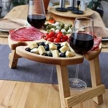 Wooden Outdoor Wine Holder  Picnic Table Outdoor Portable Picnic Table Portable Mini Table Beach Desk