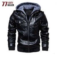 77 cidade Assassino Inverno Motocicleta Homens Jaqueta de Couro Com Zíper Oblíqua Dos Homens Faux Leather Jackets Hombre Plus Size M-4XL Jaqueta Couro