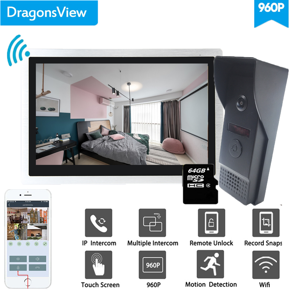Dragonsview 10 Inch Wifi Intercom System  Wireless Doorbell Camera  Smart Security Doorbell Android ISO Mobile Phone Supported