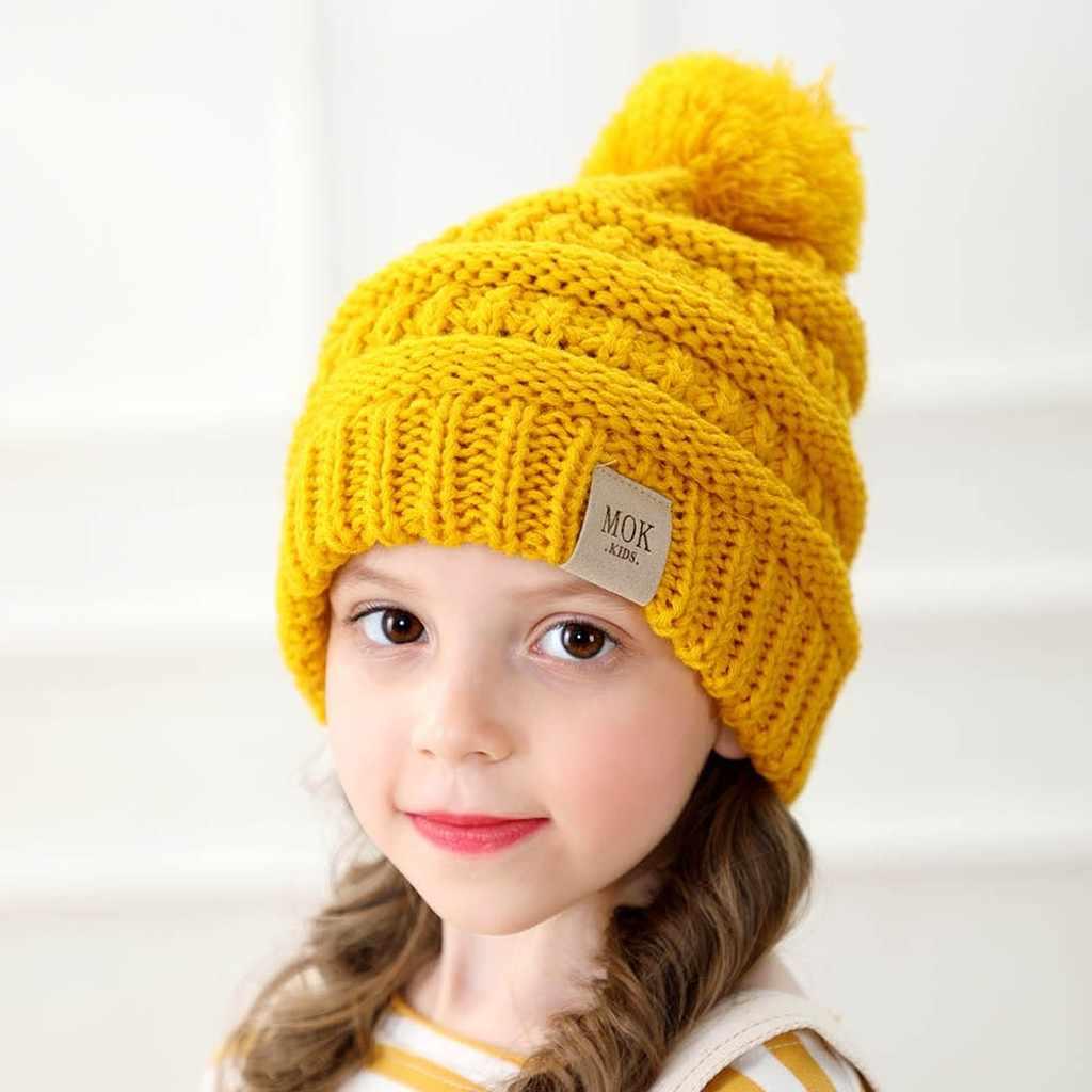 น่ารักเด็กวัยหัดเดินเด็กหมวกเด็กทารกเด็กฤดูหนาวที่อบอุ่นถัก Beanies หมวกขนสัตว์ Hairball สกีเด็กสีทึบหมวก