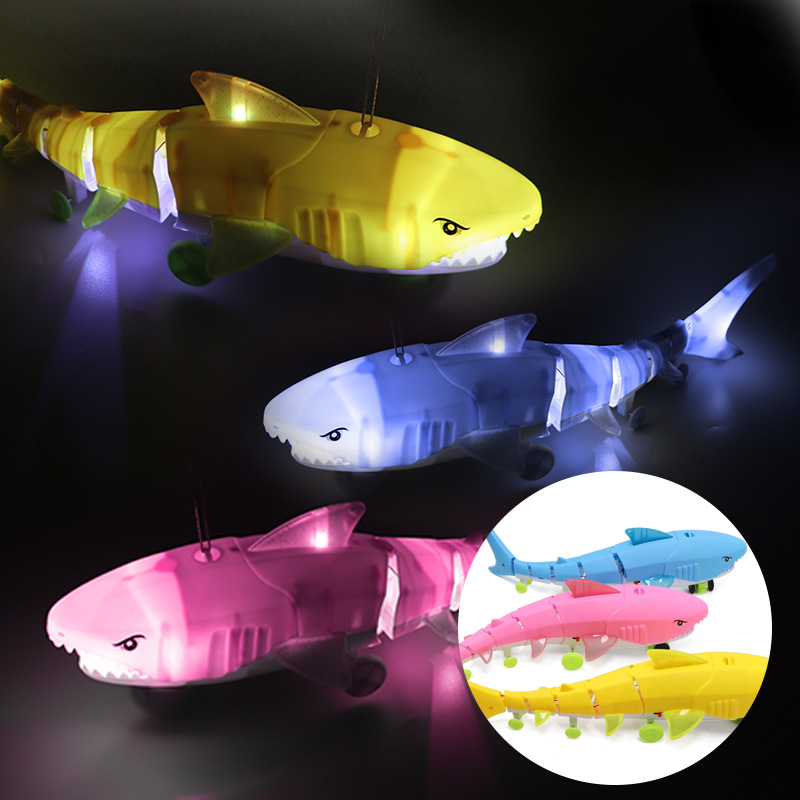 Stall Hot Selling Leash Shark Electric Light And Sound Toy Universal Traveling Leash Toy Douyin Celebrity Style