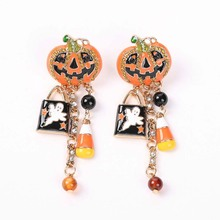 1 Pair Creative Pumpkin Ghost Dangle Earrings Fashion Cute Drop Earrings for Women Girls Halloween Party Jewelry Accessories pair of cute kitten earrings for women
