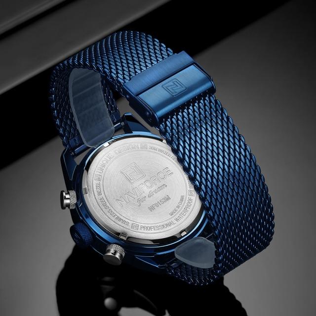 NAVIFORCE Brand Mens Watches Top Luxury Men Sports Watches Men's Quartz LED Digital Clock Male Full Steel Military Wrist Watch